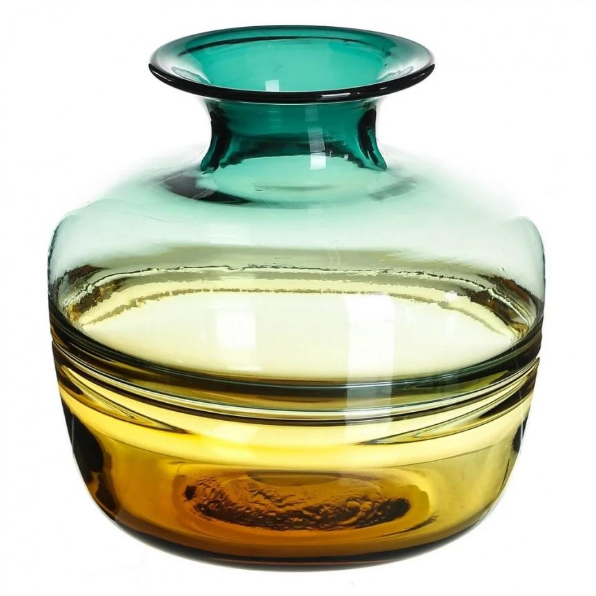Vas din sticla, Vaza eleganta din sticla VERDE-AMARILLO SX-108612, Vaze, Ghivece decorative, Corpuri de iluminat, lustre, aplice, veioze, lampadare, plafoniere. Mobilier si decoratiuni, oglinzi, scaune, fotolii. Oferte speciale iluminat interior si exterior. Livram in toata tara.  a