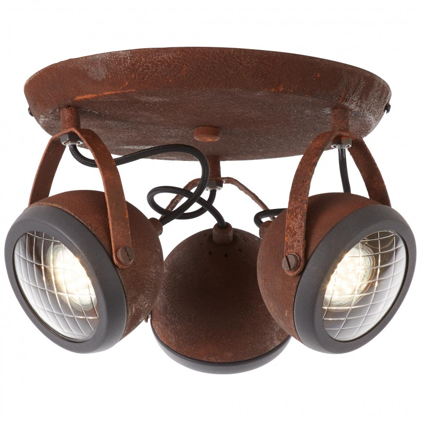Plafoniera metal ruginiu stil industrial Rider 3L 14934/55 BL, NOU ! Lustre VINTAGE, RETRO, INDUSTRIA Style, Corpuri de iluminat, lustre, aplice, veioze, lampadare, plafoniere. Mobilier si decoratiuni, oglinzi, scaune, fotolii. Oferte speciale iluminat interior si exterior. Livram in toata tara.  a