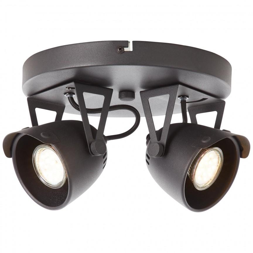 Plafoniera design industrial Ka 2L negru 79524/86 BL, Spoturi - iluminat - cu 2 spoturi, Corpuri de iluminat, lustre, aplice, veioze, lampadare, plafoniere. Mobilier si decoratiuni, oglinzi, scaune, fotolii. Oferte speciale iluminat interior si exterior. Livram in toata tara.  a