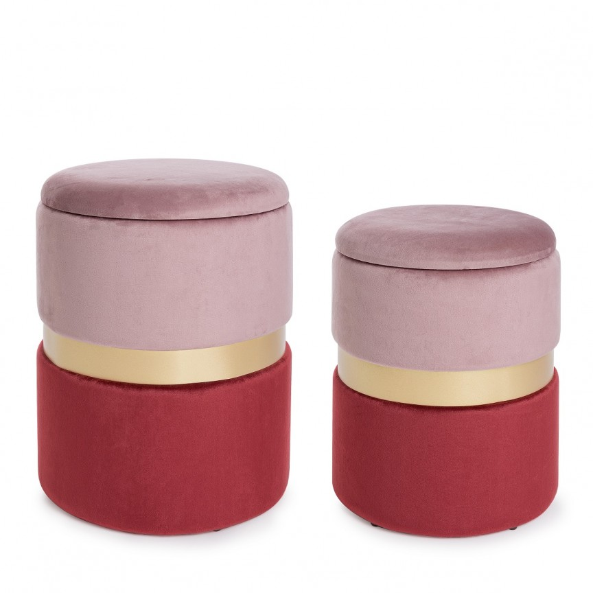 Set de 2 tabureti cu tapiterie din catifea design elegant POLINA roz-rosu 0720337 BZ, Tabureti - Banci, Corpuri de iluminat, lustre, aplice, veioze, lampadare, plafoniere. Mobilier si decoratiuni, oglinzi, scaune, fotolii. Oferte speciale iluminat interior si exterior. Livram in toata tara.  a