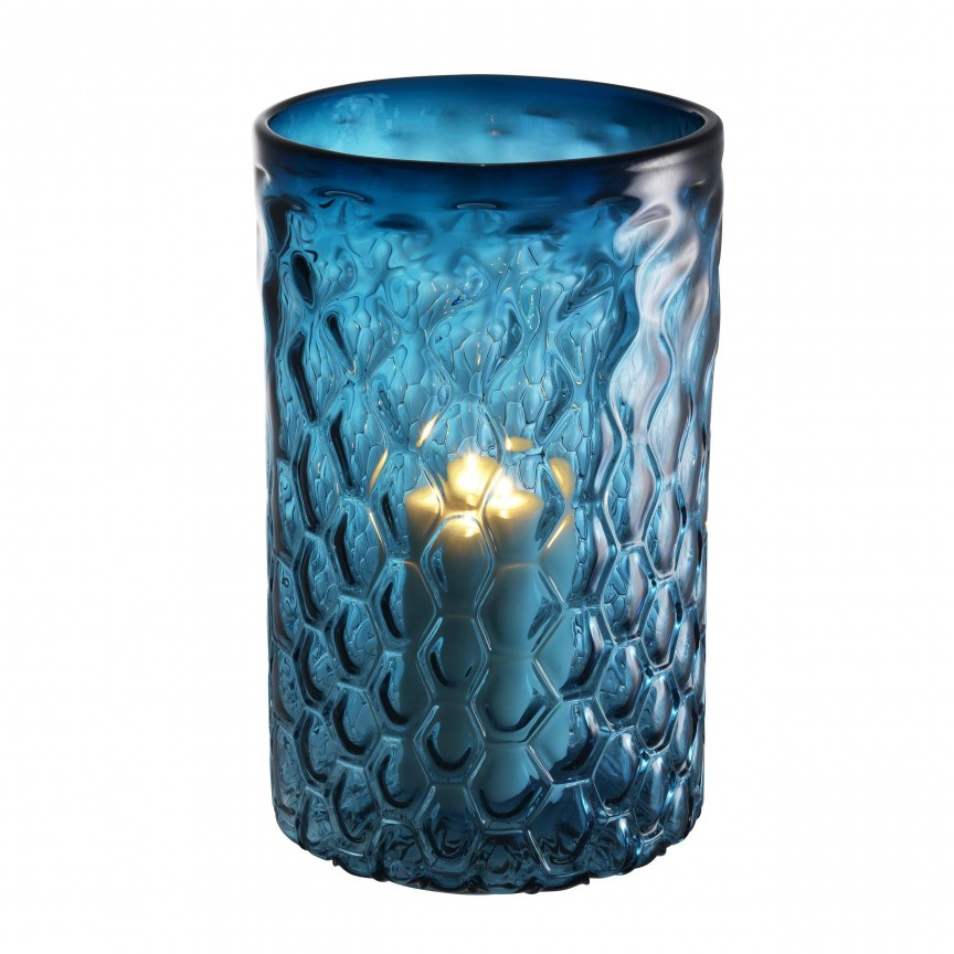 Suport lumanare din sticla LUX Aquila L albastru 113239 HZ, Parfumuri de camera- Idei cadouri- Obiecte decorative, Corpuri de iluminat, lustre, aplice, veioze, lampadare, plafoniere. Mobilier si decoratiuni, oglinzi, scaune, fotolii. Oferte speciale iluminat interior si exterior. Livram in toata tara.  a