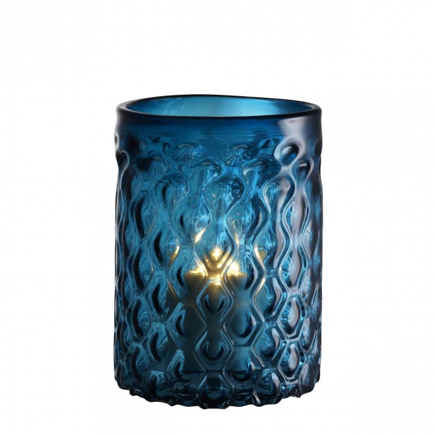 Suport lumanare din sticla LUX Aquila S albastru 113241 HZ, Parfumuri de camera- Idei cadouri- Obiecte decorative, Corpuri de iluminat, lustre, aplice, veioze, lampadare, plafoniere. Mobilier si decoratiuni, oglinzi, scaune, fotolii. Oferte speciale iluminat interior si exterior. Livram in toata tara.  a