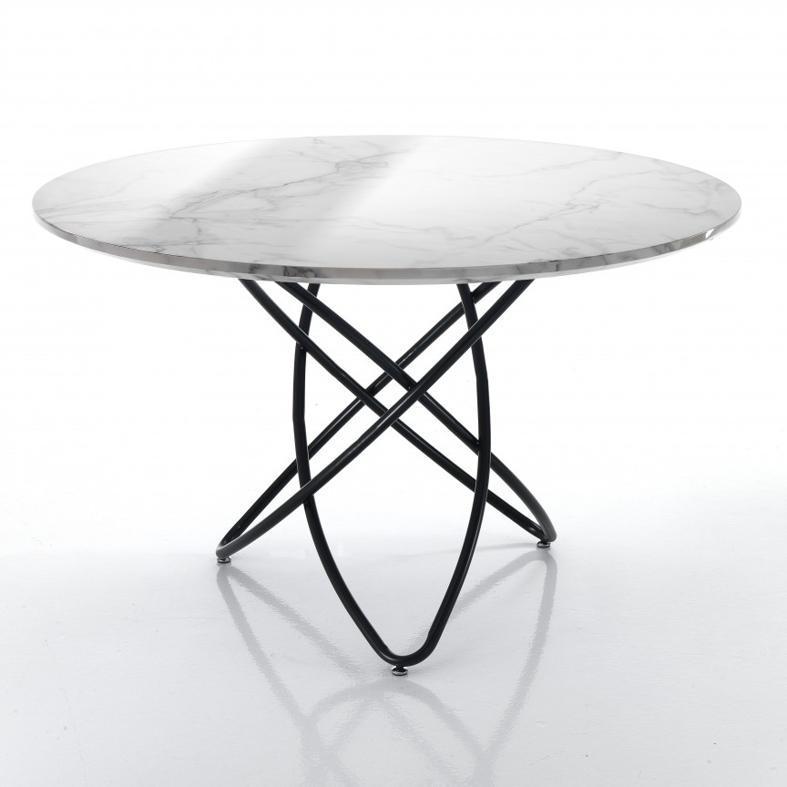 Masa dining rotunda HULA HOOP MARBLE, 120cm 3259 FTP, Mese dining, Corpuri de iluminat, lustre, aplice, veioze, lampadare, plafoniere. Mobilier si decoratiuni, oglinzi, scaune, fotolii. Oferte speciale iluminat interior si exterior. Livram in toata tara.  a