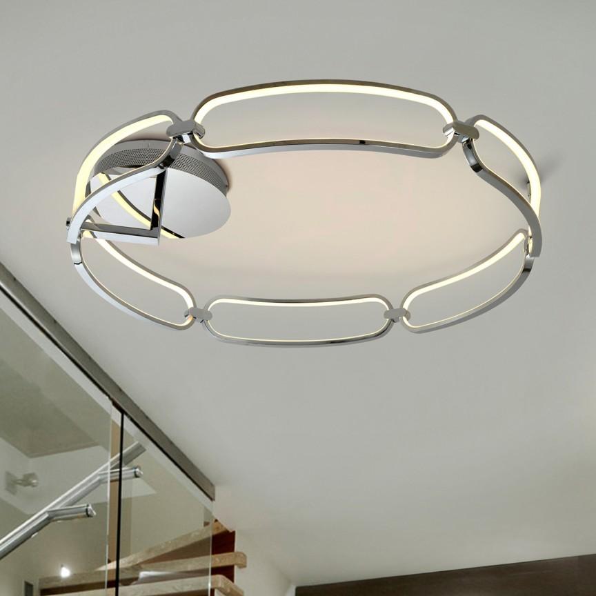 Lustra LED aplicata design ultra-modern Ø80cm Colette crom, Lustre moderne aplicate, Corpuri de iluminat, lustre, aplice, veioze, lampadare, plafoniere. Mobilier si decoratiuni, oglinzi, scaune, fotolii. Oferte speciale iluminat interior si exterior. Livram in toata tara.  a