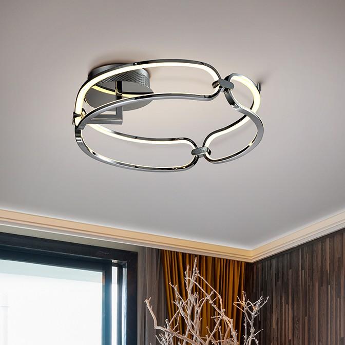Lustra LED aplicata design ultra-modern Ø47cm Colette crom, Lustre moderne aplicate, Corpuri de iluminat, lustre, aplice, veioze, lampadare, plafoniere. Mobilier si decoratiuni, oglinzi, scaune, fotolii. Oferte speciale iluminat interior si exterior. Livram in toata tara.  a