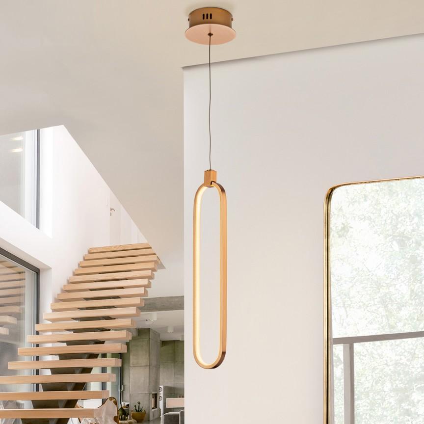 Pendul LED design ultra-modern Colette auriu roze SV-787130, Cele mai vandute Corpuri de iluminat, lustre, aplice, veioze, lampadare, plafoniere. Mobilier si decoratiuni, oglinzi, scaune, fotolii. Oferte speciale iluminat interior si exterior. Livram in toata tara.  a