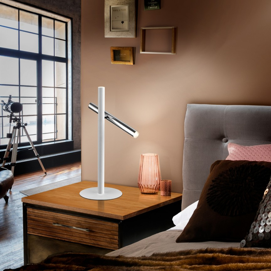 Lampa de masa LED design modern minimalist Varas alb/crom SV-373581, Veioze LED, Lampadare LED, Corpuri de iluminat, lustre, aplice, veioze, lampadare, plafoniere. Mobilier si decoratiuni, oglinzi, scaune, fotolii. Oferte speciale iluminat interior si exterior. Livram in toata tara.  a
