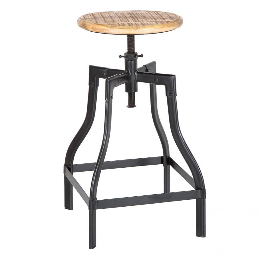 Set de 2 scaune cu inaltime reglabila Iron Craft 60-74cm, mango natur A-39397 VC, Scaune de bar, Corpuri de iluminat, lustre, aplice, veioze, lampadare, plafoniere. Mobilier si decoratiuni, oglinzi, scaune, fotolii. Oferte speciale iluminat interior si exterior. Livram in toata tara.  a
