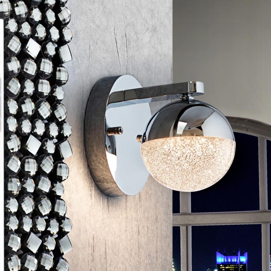 Aplica LED design modern Sphere crom SV-793168, Aplice de perete LED, moderne⭐ modele potrivite pentru dormitor,living,baie,hol,bucatarie.✅Design premium actual Top 2020!❤️Promotii lampi❗ ➽ www.evalight.ro. Alege oferte la corpuri de iluminat cu LED pt tavan interior, (becuri cu leduri si module LED integrate cu lumina calda, naturala sau rece), ieftine si de lux, calitate deosebita la cel mai bun pret.  a