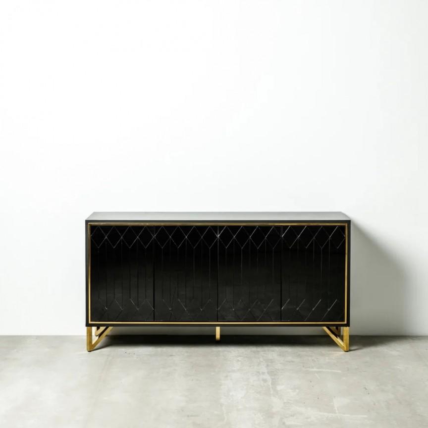 Comoda design elegant MIRROR BLACK 160x45cm DZ-121967, Dulapuri - Comode, Corpuri de iluminat, lustre, aplice, veioze, lampadare, plafoniere. Mobilier si decoratiuni, oglinzi, scaune, fotolii. Oferte speciale iluminat interior si exterior. Livram in toata tara.  a