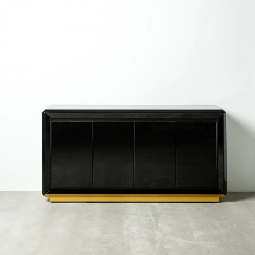 Comoda placata cu oglinda neagra design elegant Doris DZ-121968, Dulapuri - Comode, Corpuri de iluminat, lustre, aplice, veioze, lampadare, plafoniere. Mobilier si decoratiuni, oglinzi, scaune, fotolii. Oferte speciale iluminat interior si exterior. Livram in toata tara.  a