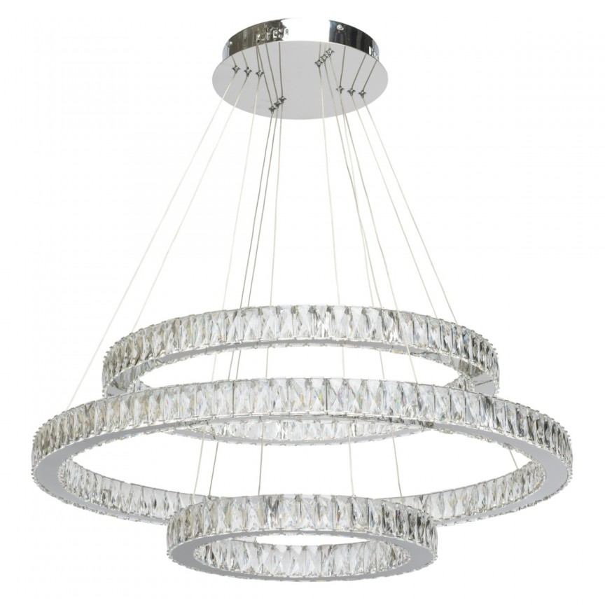 Candelabru LED cristal design lux cu telecomanda Ø80cm Goslar 498012003 MW, Candelabre, Lustre moderne, Corpuri de iluminat, lustre, aplice, veioze, lampadare, plafoniere. Mobilier si decoratiuni, oglinzi, scaune, fotolii. Oferte speciale iluminat interior si exterior. Livram in toata tara.  a
