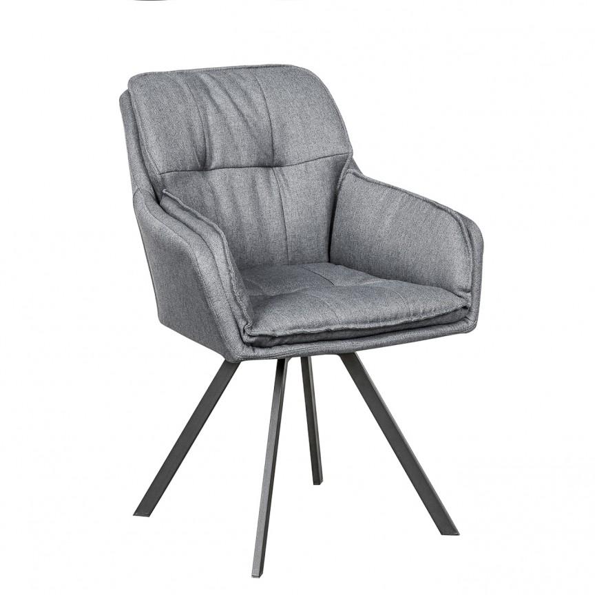 Set de 2 scaune pivotante, design retro Lounger, tesatura gri A-39352 VC, Scaune de birou, Corpuri de iluminat, lustre, aplice, veioze, lampadare, plafoniere. Mobilier si decoratiuni, oglinzi, scaune, fotolii. Oferte speciale iluminat interior si exterior. Livram in toata tara.  a