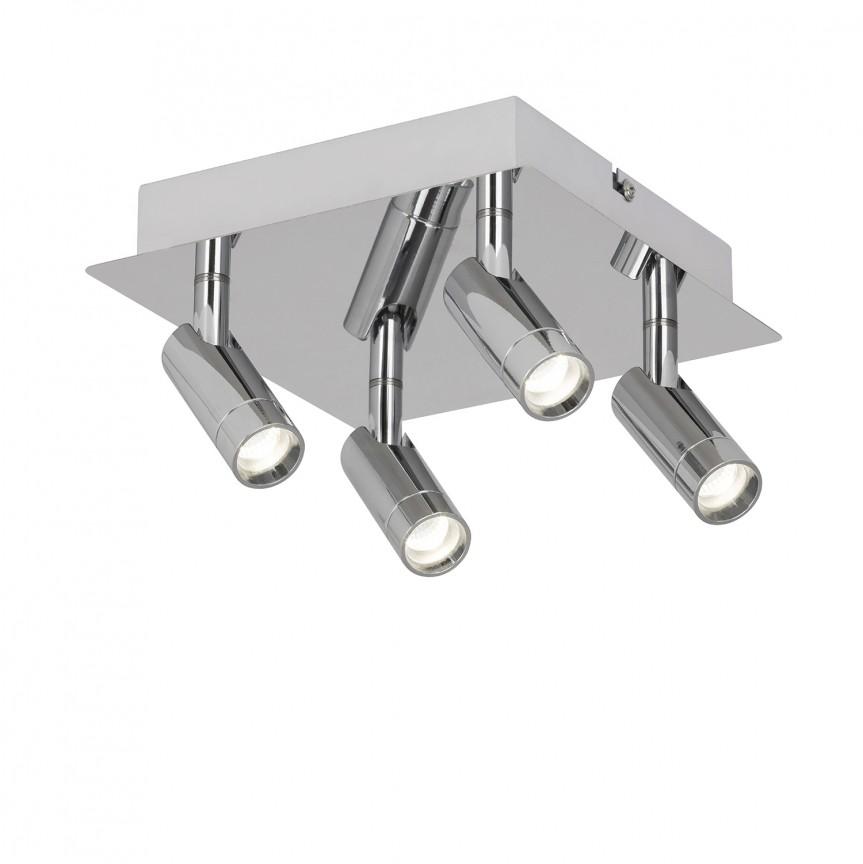Plafoniera LED cu 4 spoturi directionabile pentru baie IP44 George 5496 RX , Spoturi - iluminat - cu 4 spoturi, Corpuri de iluminat, lustre, aplice, veioze, lampadare, plafoniere. Mobilier si decoratiuni, oglinzi, scaune, fotolii. Oferte speciale iluminat interior si exterior. Livram in toata tara.  a