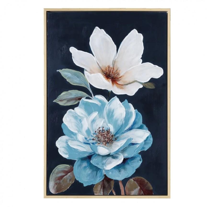 Tablou decorativ Flori negru-albastru, 80x120cm SX-108006, Tablouri decorative, Corpuri de iluminat, lustre, aplice, veioze, lampadare, plafoniere. Mobilier si decoratiuni, oglinzi, scaune, fotolii. Oferte speciale iluminat interior si exterior. Livram in toata tara.  a