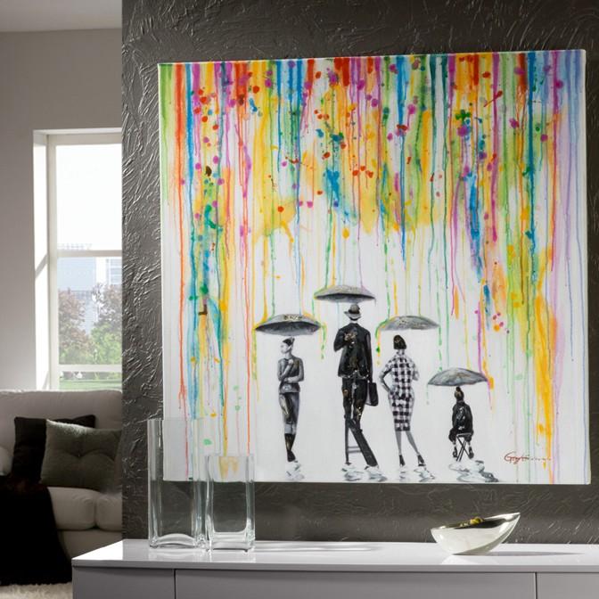 Tablou decorativ LLUVIA, 100x100cm SV-885194, Outlet,  a