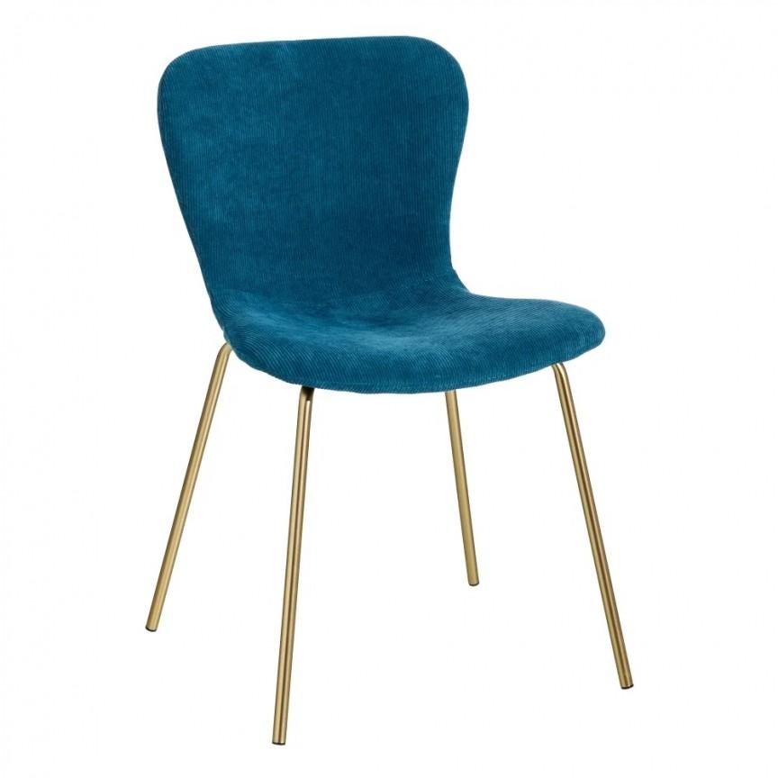 Set de 2 scaune design modern Janna, albastru-auriu SX-121812, Seturi scaune dining, scaune HoReCa, Corpuri de iluminat, lustre, aplice, veioze, lampadare, plafoniere. Mobilier si decoratiuni, oglinzi, scaune, fotolii. Oferte speciale iluminat interior si exterior. Livram in toata tara.  a