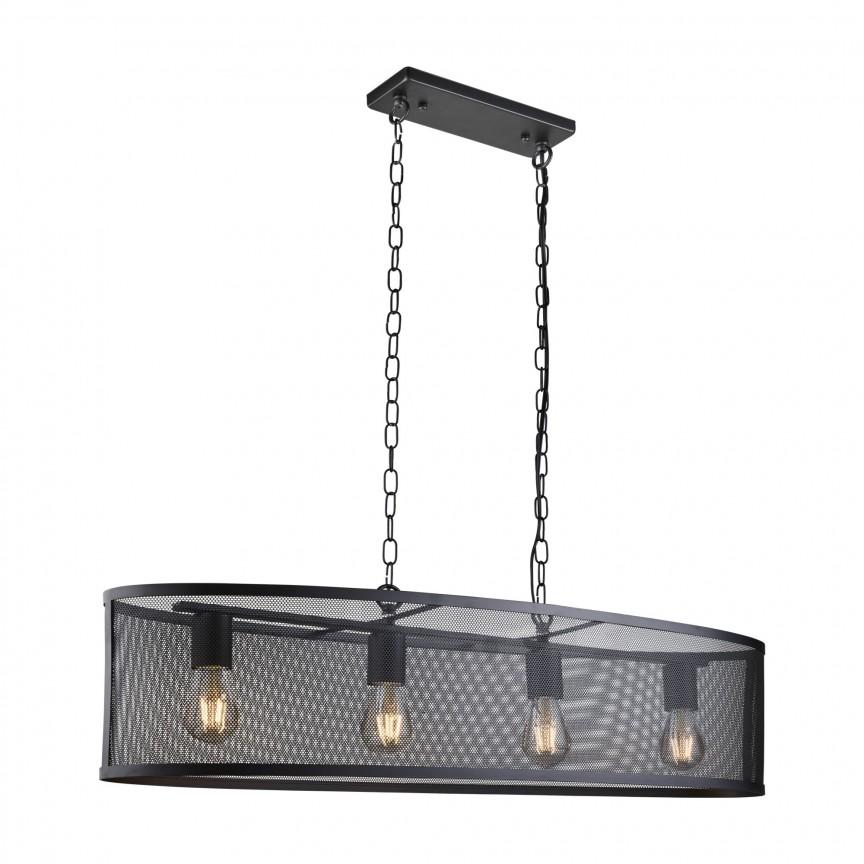 Lustra ovala design industrial Fishnet negru 2484-4BK SRT, NOU ! Lustre VINTAGE, RETRO, INDUSTRIA Style,  a