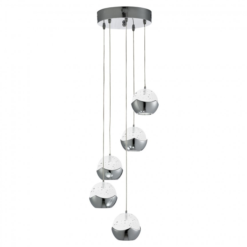 Lustra LED design ultra-modern Ø26cm Iceball 5L 7355-5CC SRT, Lustre LED, Pendule LED, Corpuri de iluminat, lustre, aplice, veioze, lampadare, plafoniere. Mobilier si decoratiuni, oglinzi, scaune, fotolii. Oferte speciale iluminat interior si exterior. Livram in toata tara.  a