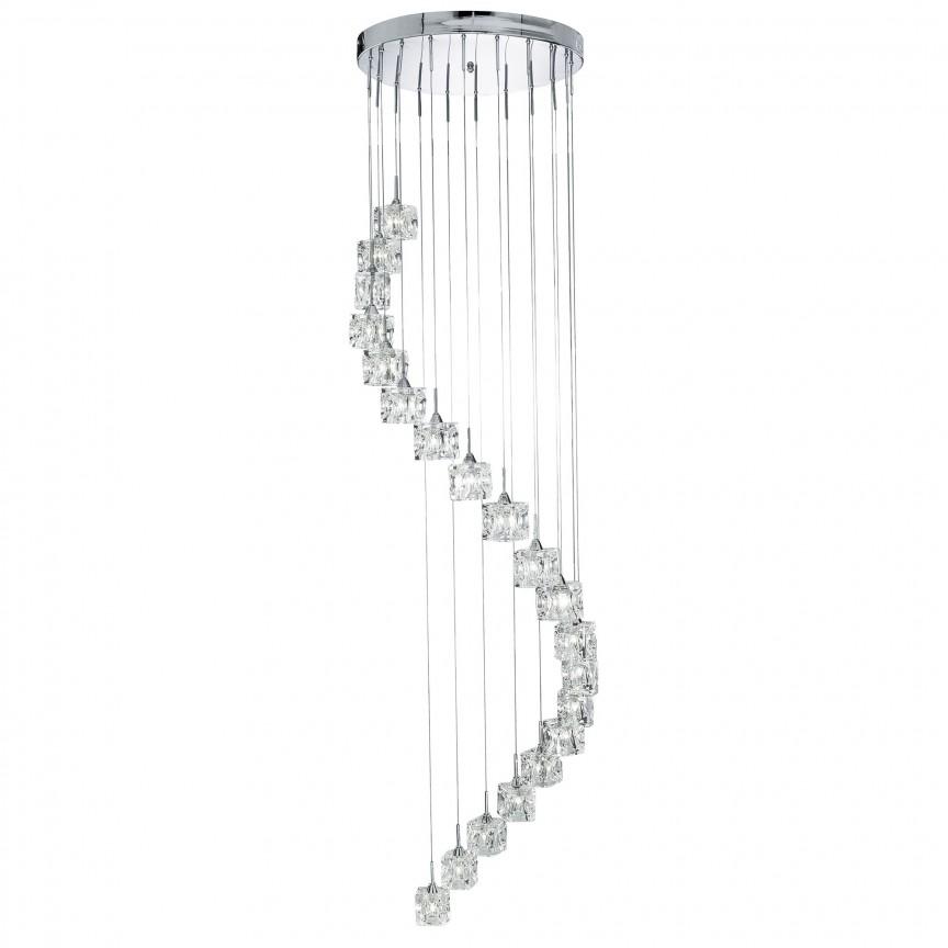 Lustra LED casa scarii design modern Ice Cube H-1,8M 6720-20-LED SRT, Lustre casa scarii, Corpuri de iluminat, lustre, aplice, veioze, lampadare, plafoniere. Mobilier si decoratiuni, oglinzi, scaune, fotolii. Oferte speciale iluminat interior si exterior. Livram in toata tara.  a