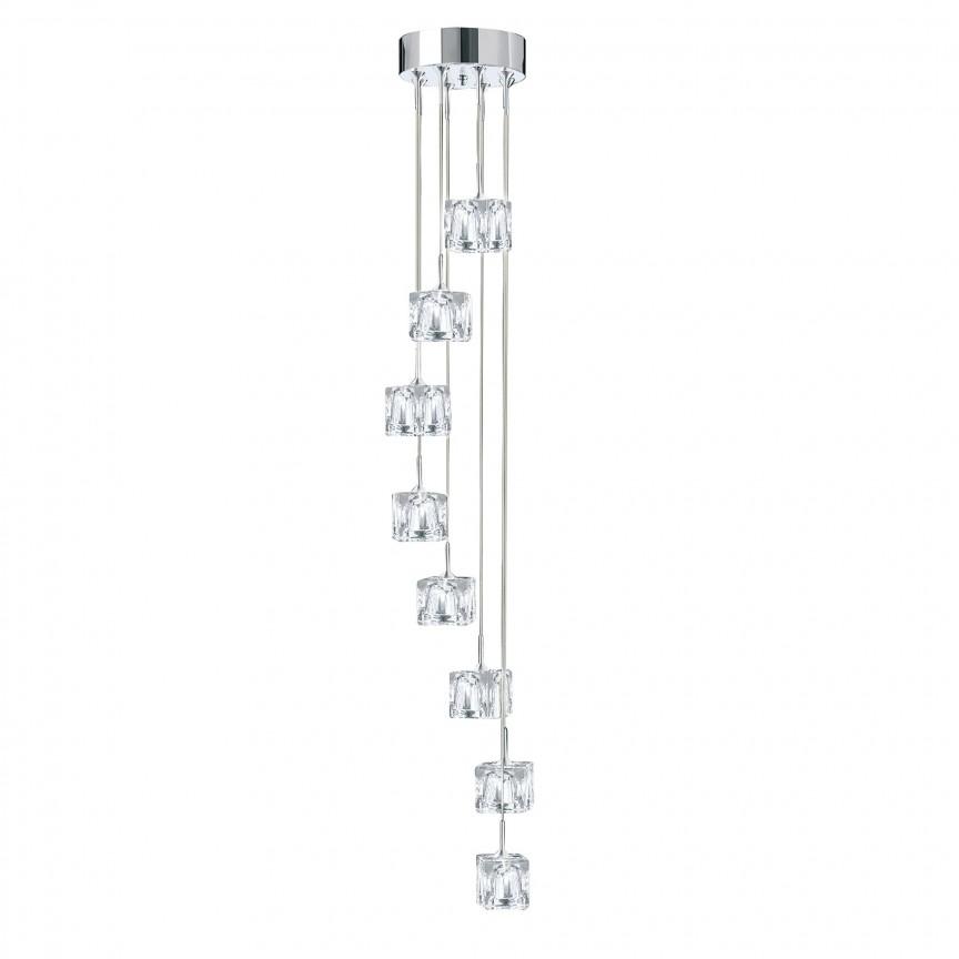 Lustra LED design modern Ice Cube H-116cm 6778-8-LED SRT, Lustre LED, Pendule LED, Corpuri de iluminat, lustre, aplice, veioze, lampadare, plafoniere. Mobilier si decoratiuni, oglinzi, scaune, fotolii. Oferte speciale iluminat interior si exterior. Livram in toata tara.  a