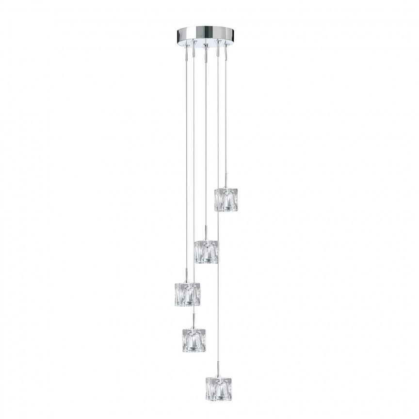 Lustra LED design modern Ice Cube H-116cm 6775-5-LED SRT, Lustre LED, Pendule LED, Corpuri de iluminat, lustre, aplice, veioze, lampadare, plafoniere. Mobilier si decoratiuni, oglinzi, scaune, fotolii. Oferte speciale iluminat interior si exterior. Livram in toata tara.  a