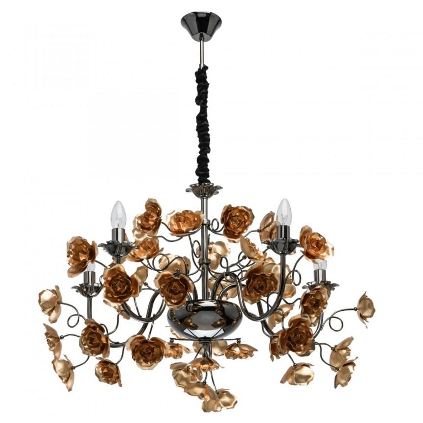 Candelabru design deosebit Flora Gold 5L 615011505 MW, Candelabre, Lustre moderne, Corpuri de iluminat, lustre, aplice, veioze, lampadare, plafoniere. Mobilier si decoratiuni, oglinzi, scaune, fotolii. Oferte speciale iluminat interior si exterior. Livram in toata tara.  a