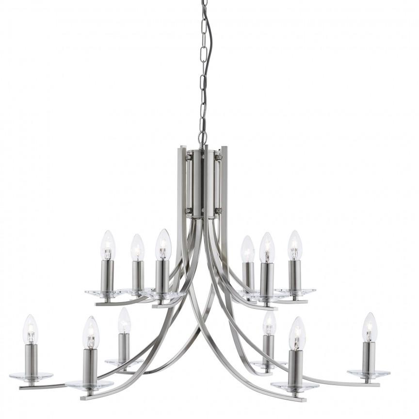 Lustra moderna casa scarii design argintiu Ascona 12L 41612-12SS SRT, Candelabre, Lustre moderne, Corpuri de iluminat, lustre, aplice, veioze, lampadare, plafoniere. Mobilier si decoratiuni, oglinzi, scaune, fotolii. Oferte speciale iluminat interior si exterior. Livram in toata tara.  a