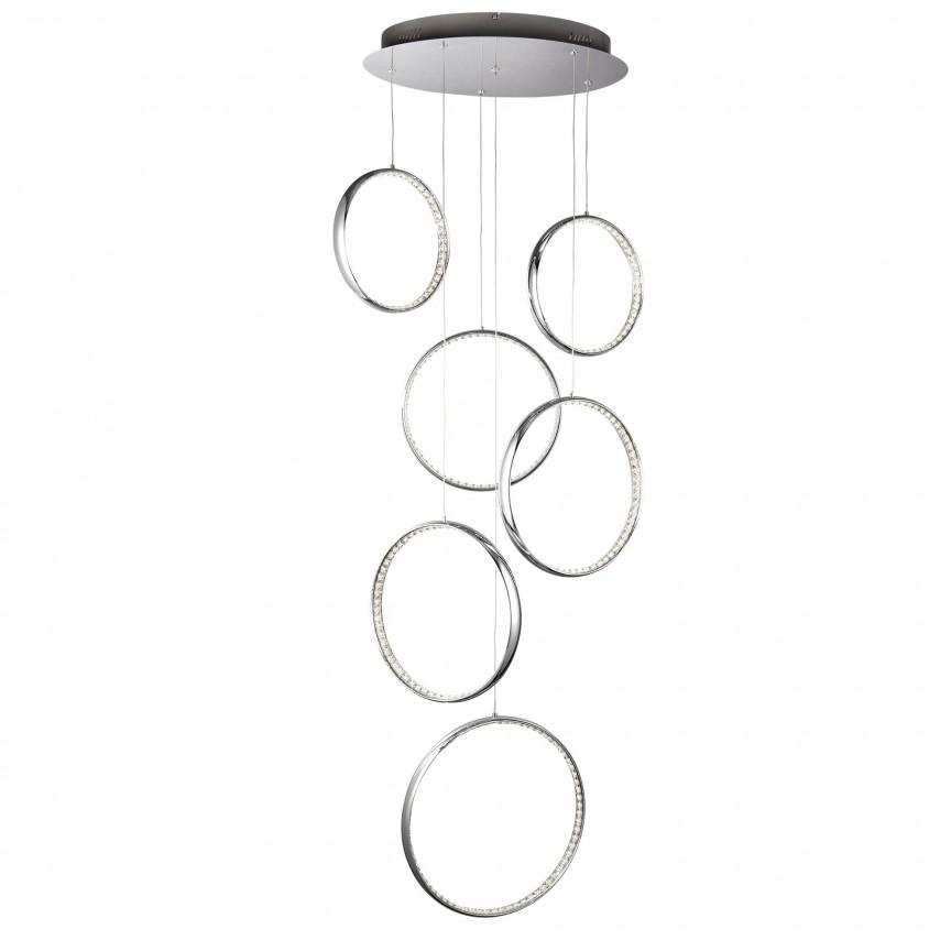 Lustra LED casa scarii design ultra-modern Rings 3166-6CC SRT, Lustre casa scarii, Corpuri de iluminat, lustre, aplice, veioze, lampadare, plafoniere. Mobilier si decoratiuni, oglinzi, scaune, fotolii. Oferte speciale iluminat interior si exterior. Livram in toata tara.  a