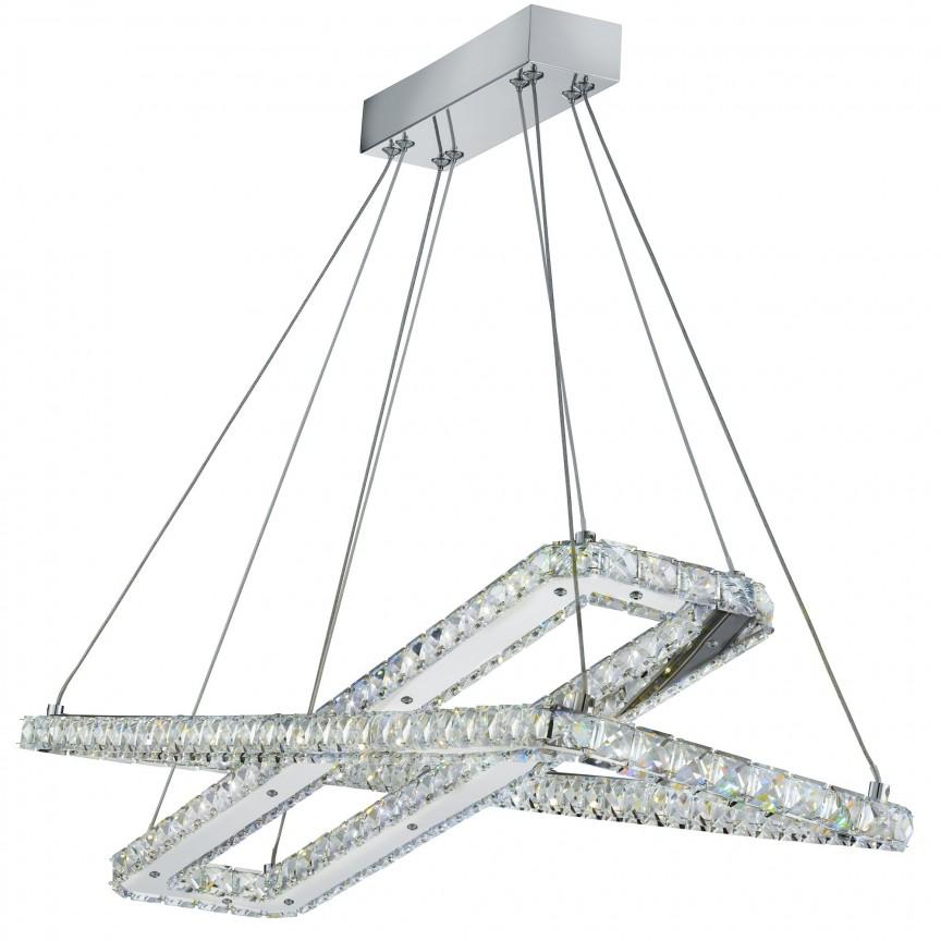 Lustra LED suspendata design elegant Clover 50W 7123CC SRT, Lustre LED, Pendule LED, Corpuri de iluminat, lustre, aplice, veioze, lampadare, plafoniere. Mobilier si decoratiuni, oglinzi, scaune, fotolii. Oferte speciale iluminat interior si exterior. Livram in toata tara.  a