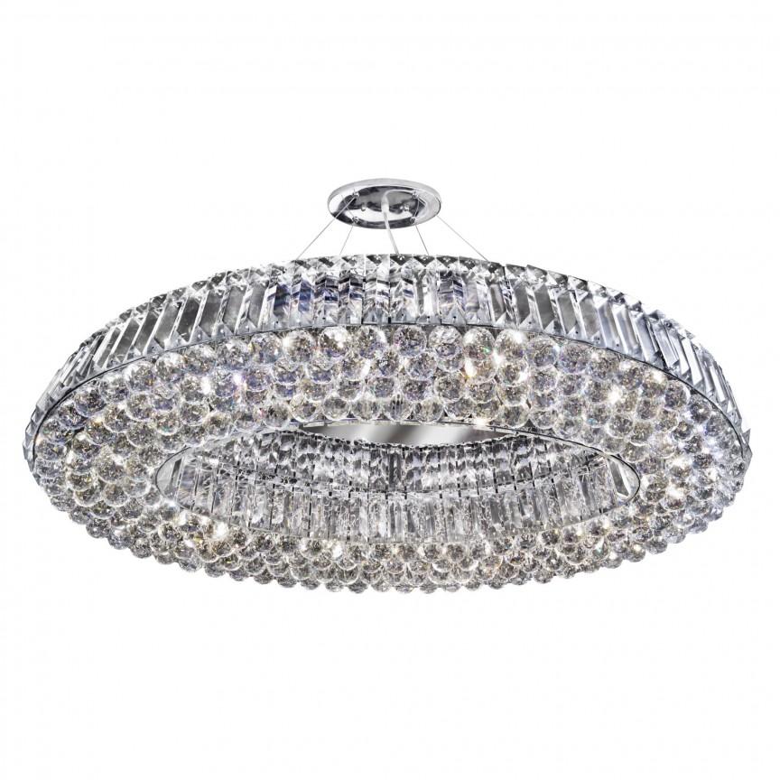 Lustra ovala design LUX cristal Vesuvius 10L, Plafoniere moderne, Corpuri de iluminat, lustre, aplice, veioze, lampadare, plafoniere. Mobilier si decoratiuni, oglinzi, scaune, fotolii. Oferte speciale iluminat interior si exterior. Livram in toata tara.  a