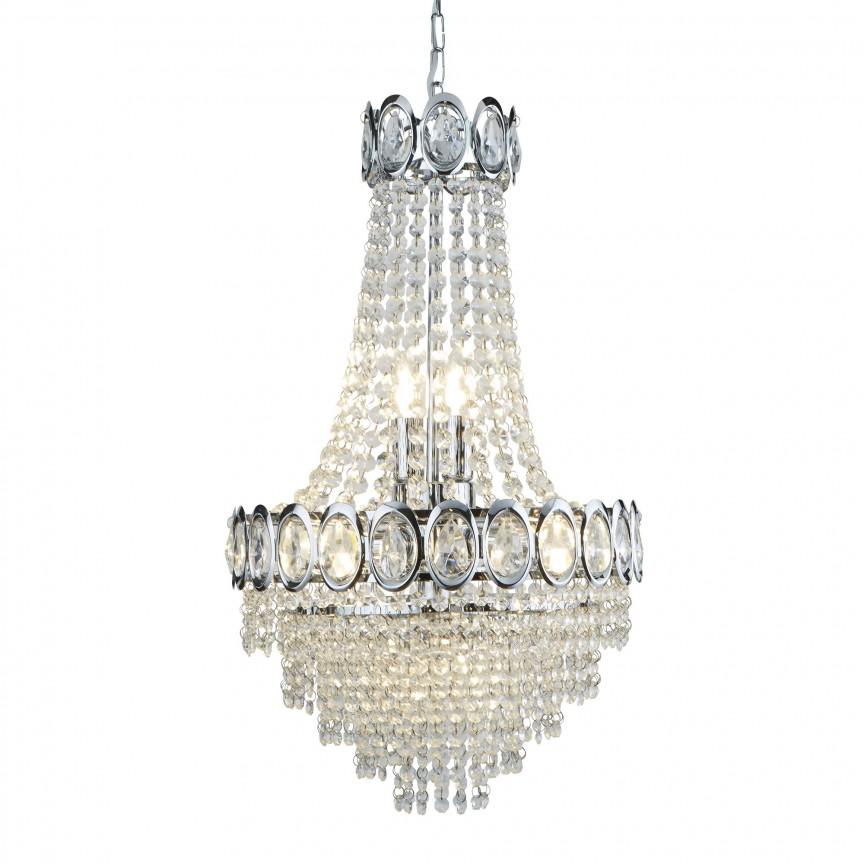Lustra cristal design LUX Louis Philippe 6L 1611-6CC SRT, Candelabre, Pendule clasice, Corpuri de iluminat, lustre, aplice, veioze, lampadare, plafoniere. Mobilier si decoratiuni, oglinzi, scaune, fotolii. Oferte speciale iluminat interior si exterior. Livram in toata tara.  a