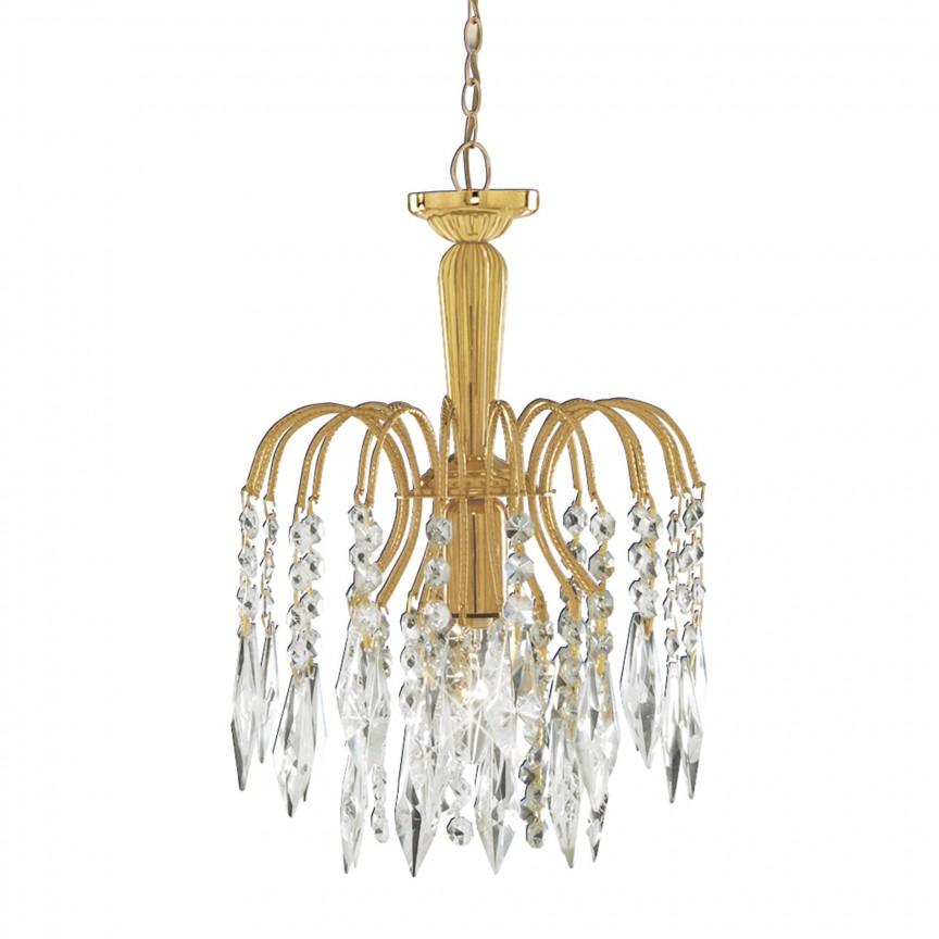 Pendul cristal design elegant Waterfall gold 6271-1 SRT, Pendule, Lustre suspendate, Corpuri de iluminat, lustre, aplice, veioze, lampadare, plafoniere. Mobilier si decoratiuni, oglinzi, scaune, fotolii. Oferte speciale iluminat interior si exterior. Livram in toata tara.  a