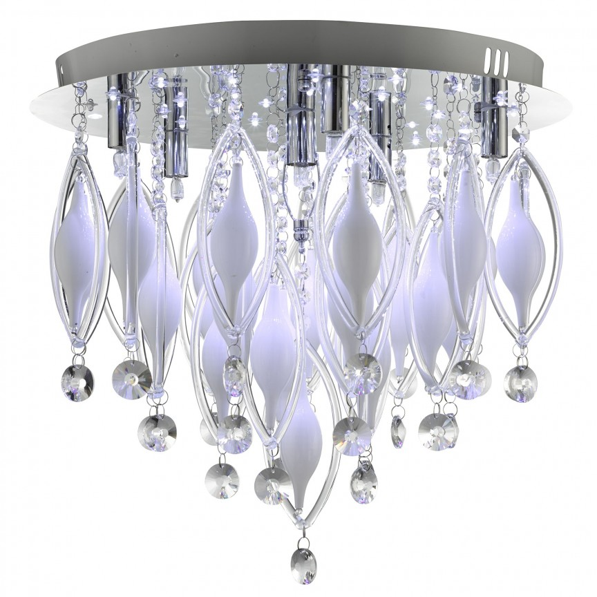 Lustra LED cu telecomanda design modern Spindle 2456-6CC SRT, Lampi LED si Telecomanda, Corpuri de iluminat, lustre, aplice, veioze, lampadare, plafoniere. Mobilier si decoratiuni, oglinzi, scaune, fotolii. Oferte speciale iluminat interior si exterior. Livram in toata tara.  a