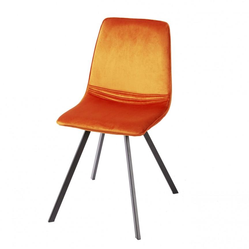Set de 4 scaune industrial retro Amsterdam, catifea portocalie A-39919 VC, Seturi scaune dining, scaune HoReCa, Corpuri de iluminat, lustre, aplice, veioze, lampadare, plafoniere. Mobilier si decoratiuni, oglinzi, scaune, fotolii. Oferte speciale iluminat interior si exterior. Livram in toata tara.  a