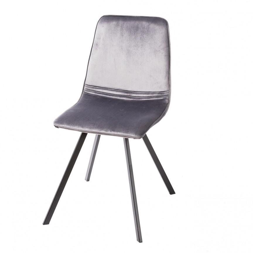 Set de 4 scaune industrial retro Amsterdam, catifea gri inchis A-39920 VC, Seturi scaune dining, scaune HoReCa, Corpuri de iluminat, lustre, aplice, veioze, lampadare, plafoniere. Mobilier si decoratiuni, oglinzi, scaune, fotolii. Oferte speciale iluminat interior si exterior. Livram in toata tara.  a