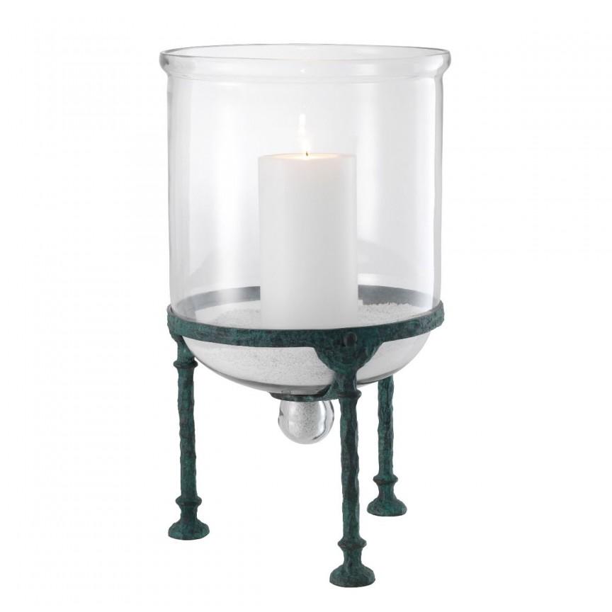 Suport lumanare LUX Grace, metal verde vintage 113689 HZ, Parfumuri de camera- Idei cadouri- Obiecte decorative,  a