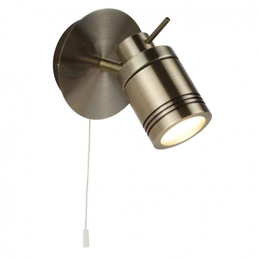 Aplica de perete directionabila pentru baie IP44 Samson 6601AB SRT, Spoturi - iluminat - cu 1 spot, Corpuri de iluminat, lustre, aplice, veioze, lampadare, plafoniere. Mobilier si decoratiuni, oglinzi, scaune, fotolii. Oferte speciale iluminat interior si exterior. Livram in toata tara.  a