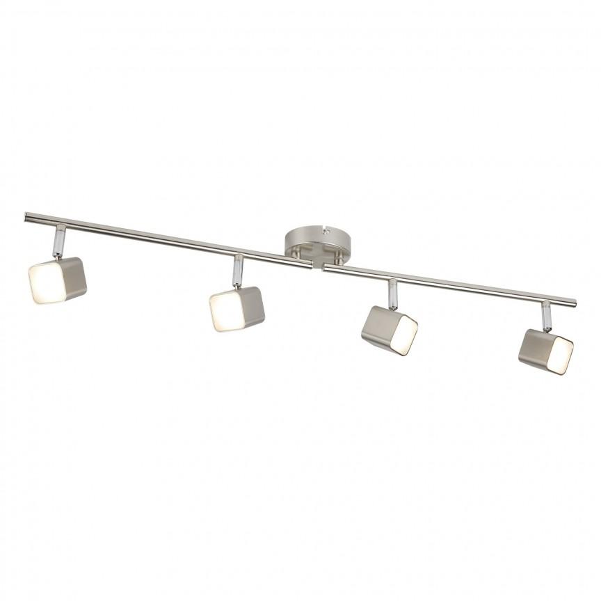 Lustra LED moderna cu 4 spoturi directionabile Quad 4234SS SRT, Spoturi - iluminat - cu 4 spoturi, Corpuri de iluminat, lustre, aplice, veioze, lampadare, plafoniere. Mobilier si decoratiuni, oglinzi, scaune, fotolii. Oferte speciale iluminat interior si exterior. Livram in toata tara.  a