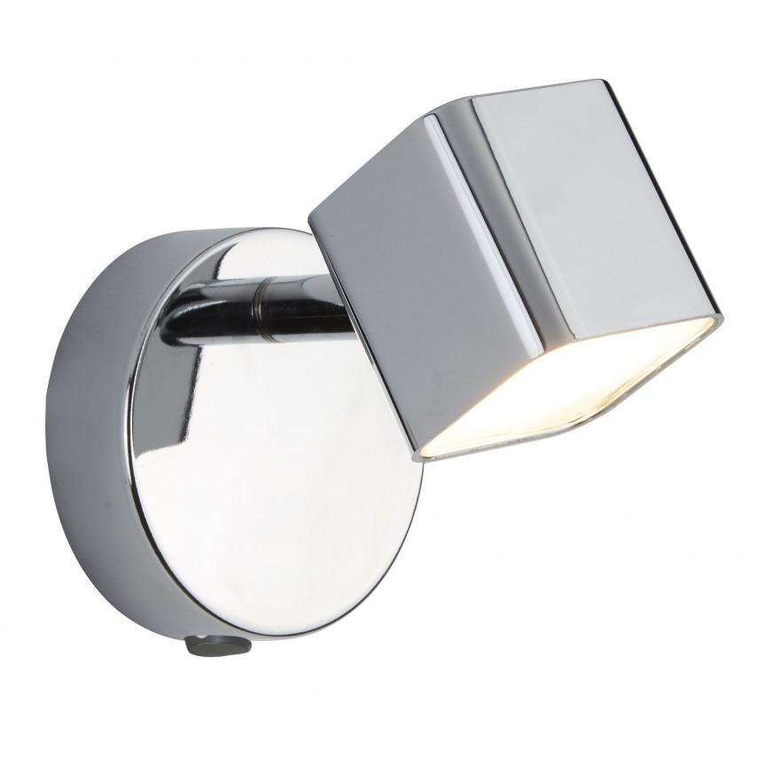 Aplica LED moderna cu spot directionabil Quad 4231CC SRT, Spoturi - iluminat - cu 1 spot, Corpuri de iluminat, lustre, aplice, veioze, lampadare, plafoniere. Mobilier si decoratiuni, oglinzi, scaune, fotolii. Oferte speciale iluminat interior si exterior. Livram in toata tara.  a