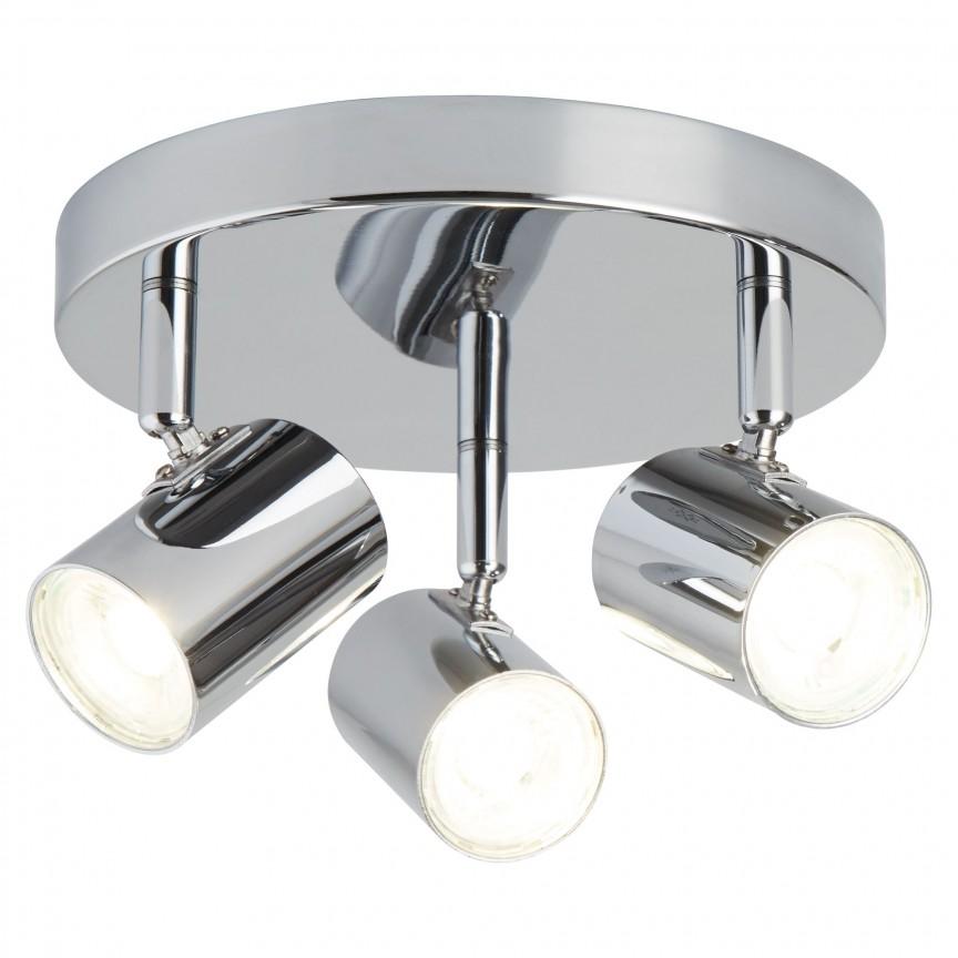 Plafoniera LED cu 3 spoturi directionabile Rollo crom 3173CC SRT, Spoturi - iluminat - cu 3 spoturi, Corpuri de iluminat, lustre, aplice, veioze, lampadare, plafoniere. Mobilier si decoratiuni, oglinzi, scaune, fotolii. Oferte speciale iluminat interior si exterior. Livram in toata tara.  a