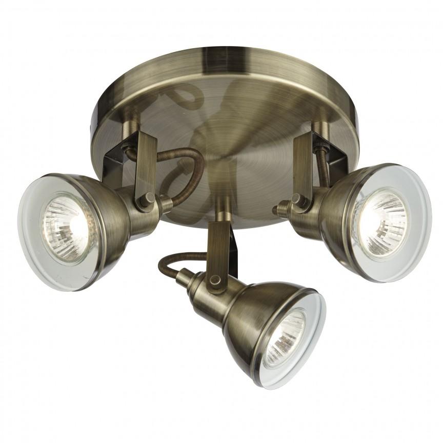 Plafoniera cu 3 spoturi directionabile Focus alama antic 1543AB SRT, Spoturi - iluminat - cu 3 spoturi, Corpuri de iluminat, lustre, aplice, veioze, lampadare, plafoniere. Mobilier si decoratiuni, oglinzi, scaune, fotolii. Oferte speciale iluminat interior si exterior. Livram in toata tara.  a