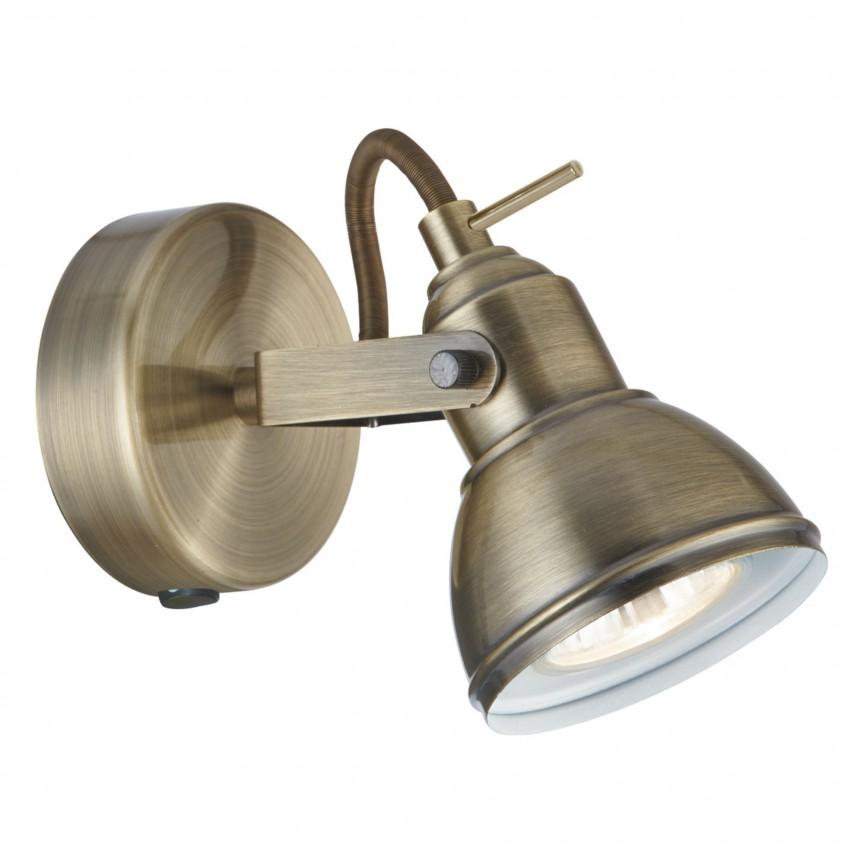 Aplica de perete moderna cu spot directionabil Focus alama antic 1541AB SRT, Spoturi - iluminat - cu 1 spot, Corpuri de iluminat, lustre, aplice, veioze, lampadare, plafoniere. Mobilier si decoratiuni, oglinzi, scaune, fotolii. Oferte speciale iluminat interior si exterior. Livram in toata tara.  a