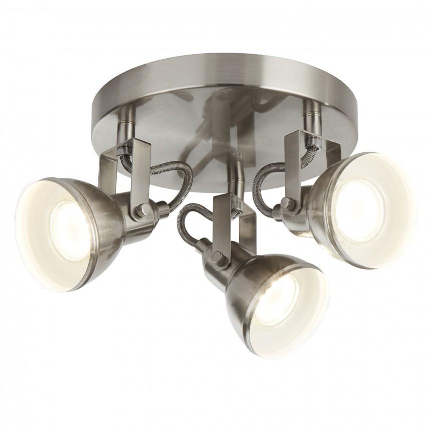 Plafoniera cu 3 spoturi directionabile Focus argintiu satin 1543SS SRT, Spoturi - iluminat - cu 3 spoturi, Corpuri de iluminat, lustre, aplice, veioze, lampadare, plafoniere. Mobilier si decoratiuni, oglinzi, scaune, fotolii. Oferte speciale iluminat interior si exterior. Livram in toata tara.  a