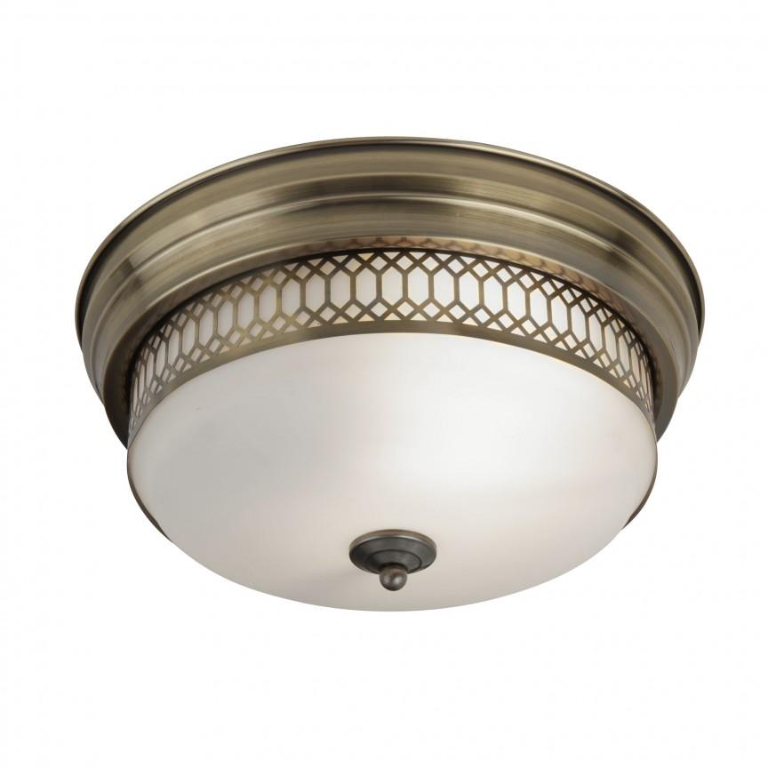 Plafoniera pentru baie IP44 Ø35cm Edinburgh alama antic 4132-2AB SRT, Plafoniere cu protectie pentru baie, Corpuri de iluminat, lustre, aplice, veioze, lampadare, plafoniere. Mobilier si decoratiuni, oglinzi, scaune, fotolii. Oferte speciale iluminat interior si exterior. Livram in toata tara.  a