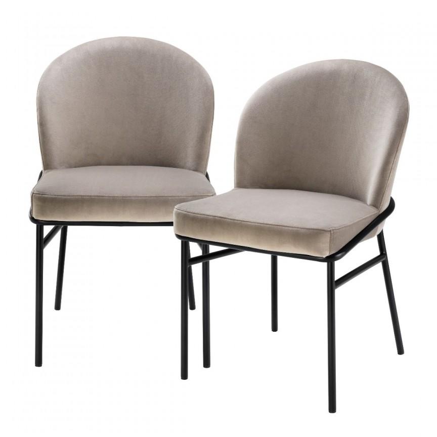 Set de 2 scaune design modern Willis, catifea Savona greige 113772 HZ, Seturi scaune dining, scaune HoReCa,  a