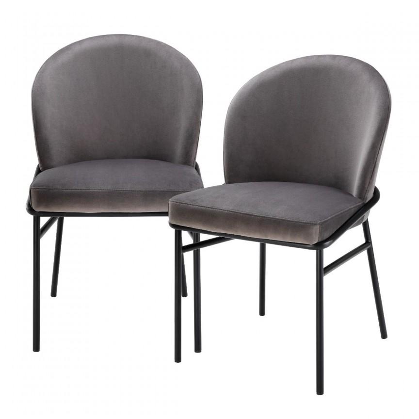 Set de 2 scaune design modern Willis, catifea Savona gri 113773 HZ, Seturi scaune dining, scaune HoReCa,  a