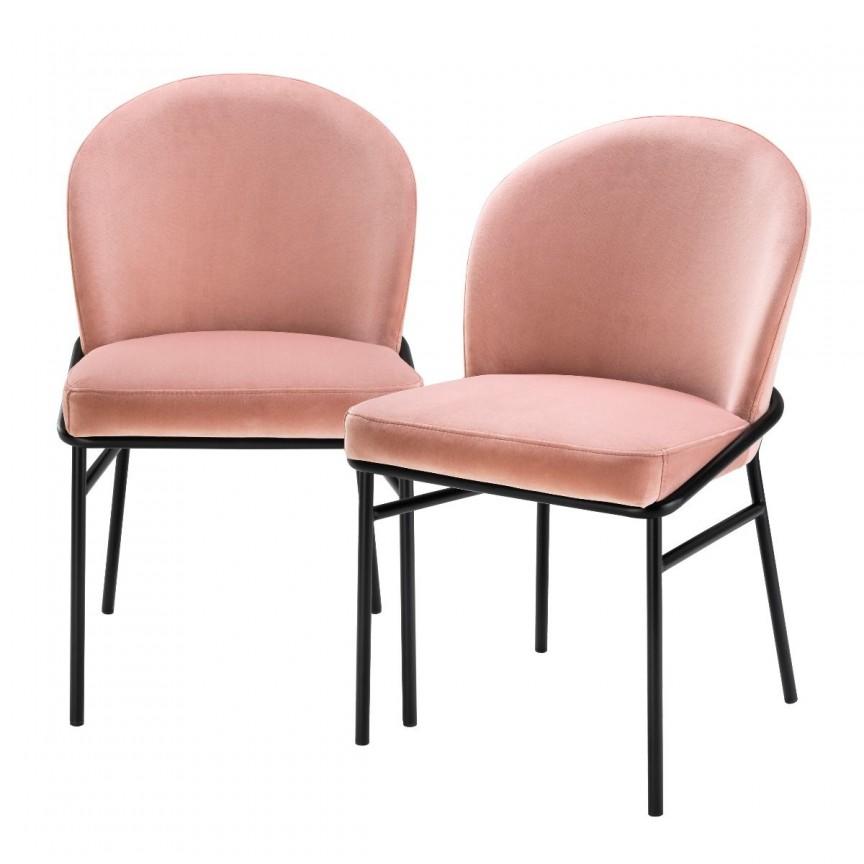 Set de 2 scaune design modern Willis, catifea Savona nude 113774 HZ, Seturi scaune dining, scaune HoReCa,  a