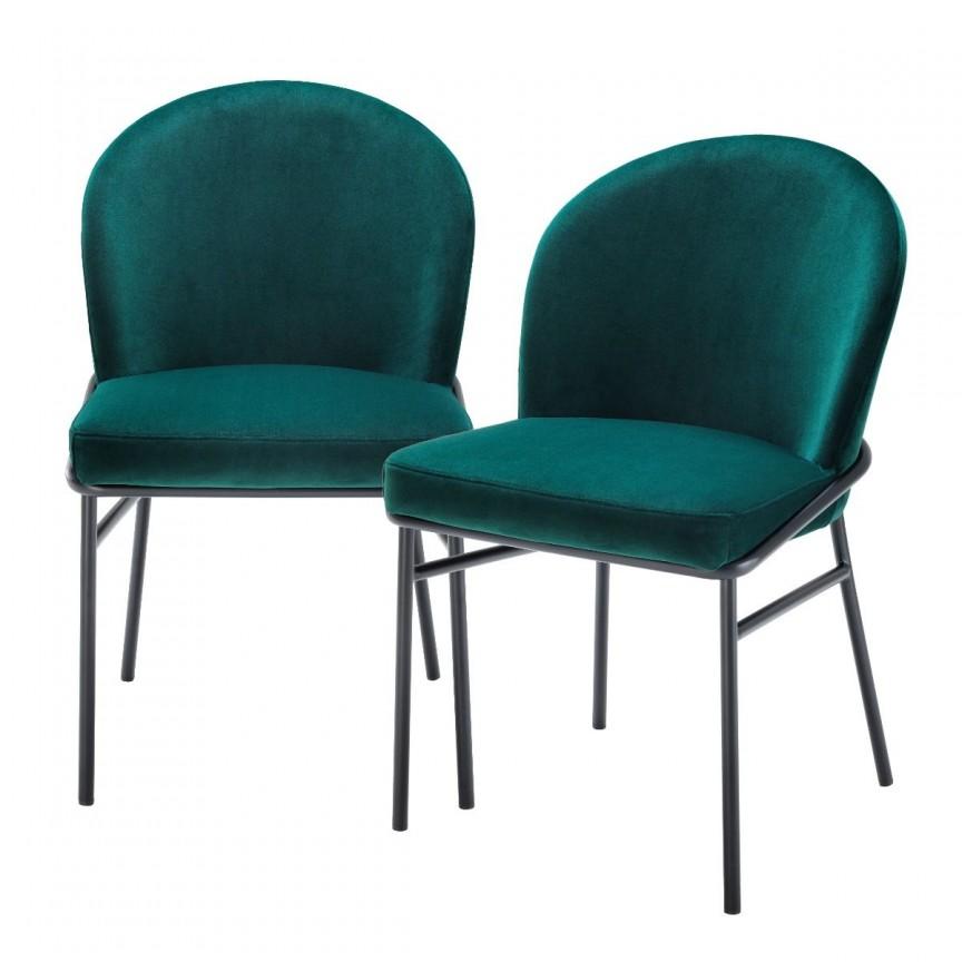 Set de 2 scaune design modern Willis, catifea Savona verde inchis 113775 HZ, Seturi scaune dining, scaune HoReCa,  a