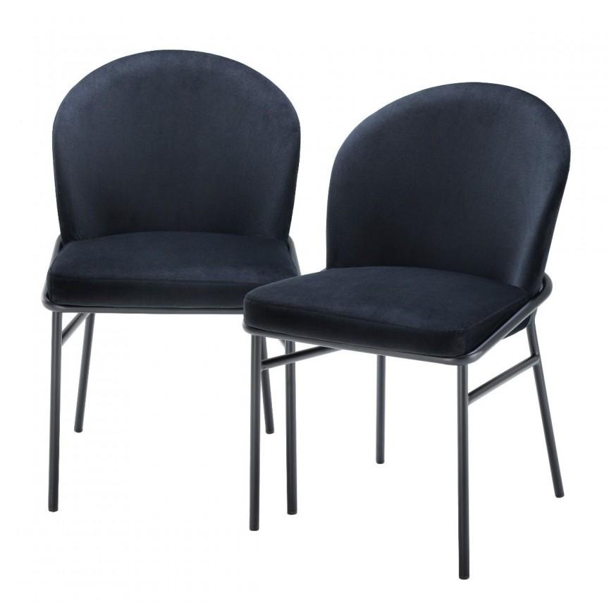 Set de 2 scaune design modern Willis, catifea Savona negru 113776 HZ, Seturi scaune dining, scaune HoReCa,  a